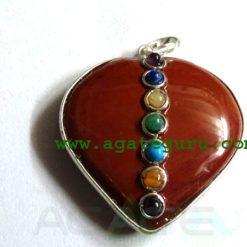 Red Jesper Agate 7 Chakra Metal Heart Pendent