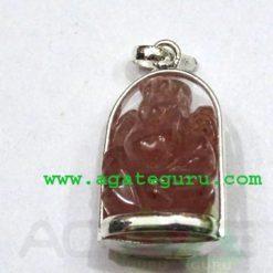 Rose Quartz Agate Ganesha Metal Pendent