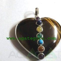 Tiger Eye Agate 7 Chakra Metal Heart Pendent
