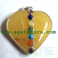 Yellow Agate 7 Chakra Metal Heart Pendent