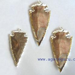 Agate Silver Electroplated Gemstone Arrowhead Pendants