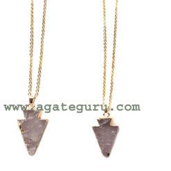 Rose Quartz Arrowhead Pendents With chain