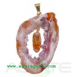 Agate 2 pieces Slice Pendant..