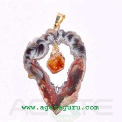 Agate 2 pieces Slice Pendant,