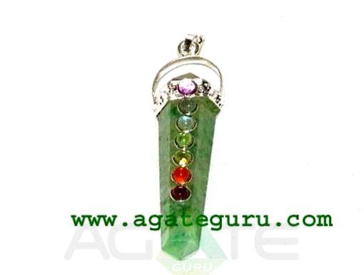 Green Flourite Seven Chakra Bridge Pendant