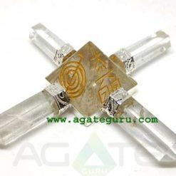 4 Pencil Clear Quartz Reiki Pyramid Energy Generator.