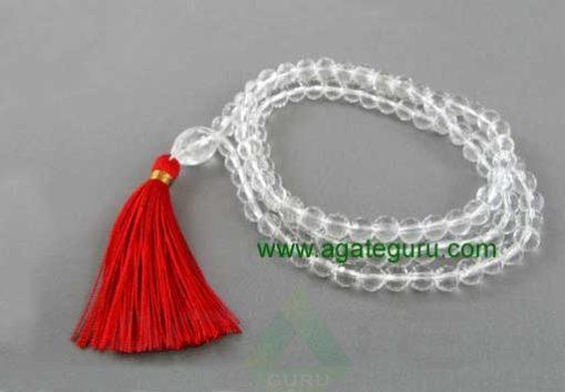 Crystal quartz 108 beads mala - faceted quartz red silk tassel necklace 6mm