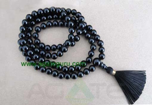 Mala - 8mm black onyx 108 beads buddhist mala - prayer necklace - black