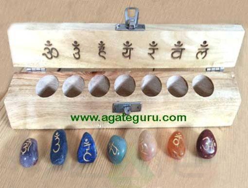7 Chakra Tumbled Stones Set with Sanskrit Symbols