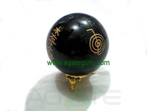Black Obsidian Engrave USAI Reiki sphere