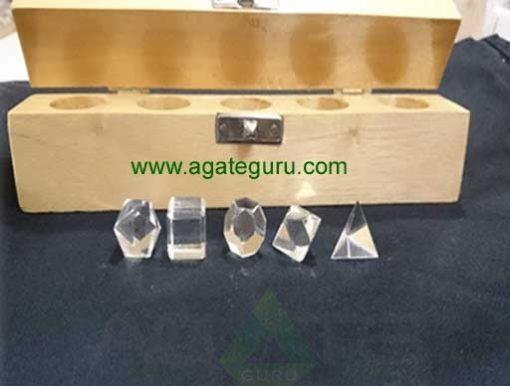 Crystal Quartz 5pcs Geometry Set with Wooden Box