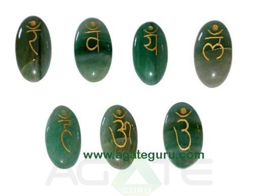 Green Aventurine Engraved Sanskrit Oval Chakra Set