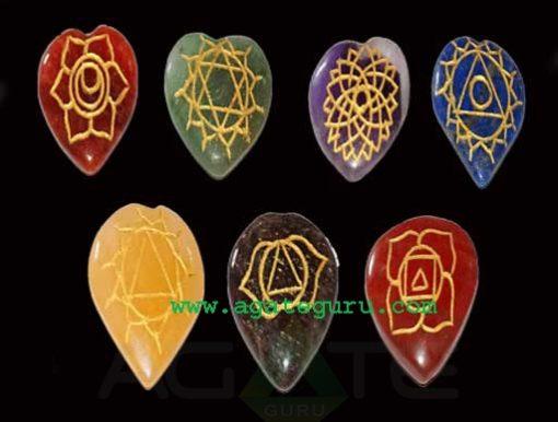 Heart Shaped Seven Chakra Stone Symbol Engraved Set