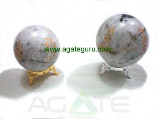 Rainbow Moonstone Engrave USAI Reiki Sphere