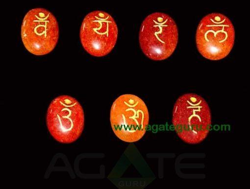 Red Aventurine Engraved Sanskrit Oval Chakra Set