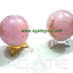 Rose Quartz Engrave USAI Reiki sphere