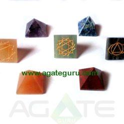 Seven Chakra Reiki Engraved Small Size Pyramids Set
