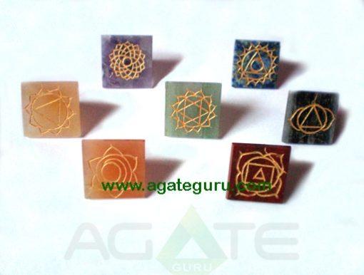 Seven Chakra Reiki Engraved Small Size Pyramids Set.