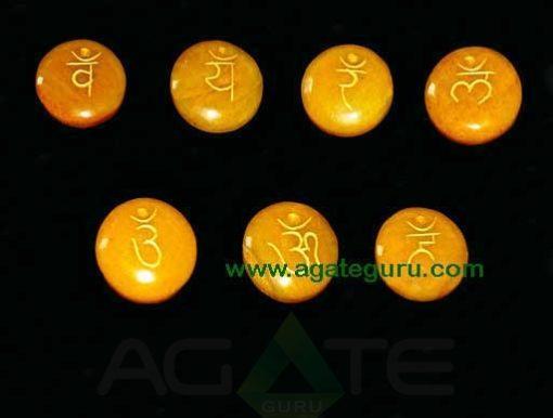 Yellow Aventurine Engraved Sanskrit Disc Chakra Set
