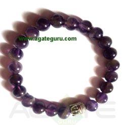 Amethyst With Buddha Face Bracelet. India wholesaler Manufacturer