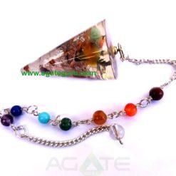 Orgonite Mix Stone Smooth Pendulum With Chakra Chain