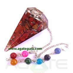 Orgonite Red Jasper Pendulum With Chakra Chain
