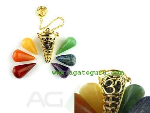 Golden Ohm Cage Pendulum With Chakra Cones : Wholesale Chakra Chamber Pendulum