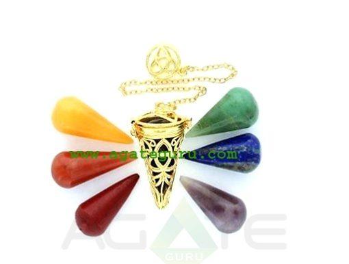 Golden Triquetra Cage Pendulum With Chakra Cones : Wholesale Chakra Chamber Pendulum