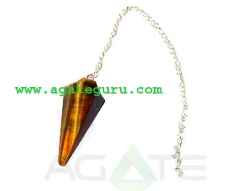 Product Details Item : Chakra Pendulum Stone : Tiger Eye Size : 45-55mm Code : AGP#1192 Shape : Cone Techinque : Handmade