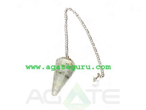 Rainbow Moonstone Faceted Pendulum : Wholesale New Age Gemstone Pendulums