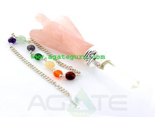 Rose Quartz Angel Pendulum with Chakra Chain