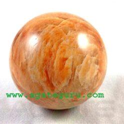 Peach Orange Red Rainbow Moonstone Crystal Stone Sphere Ball