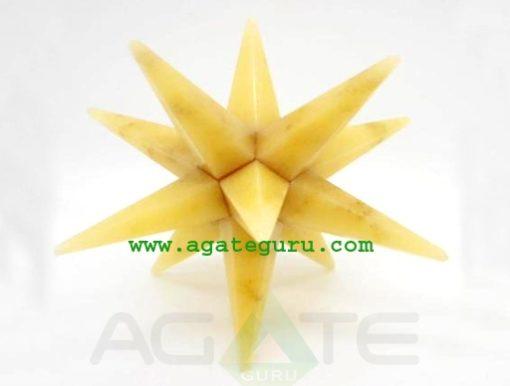 Yellow Quartz Crystal 12 Point Merkaba Star