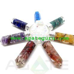 7 Chakra Orgone Pyramid Energy Generator with Crystal Pyramid : Crystal Grid Sets