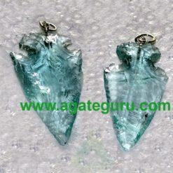 Aqua Glass Stone Arrowhead Pendant