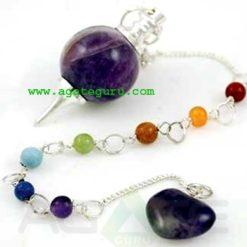 Amethyst Pendulum With Chakra Chain : Wholesale Gemstone Pendulums