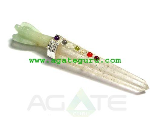 Crystal Quartz Chakra Green Aventurian Angel wand Healing wand wholesaler