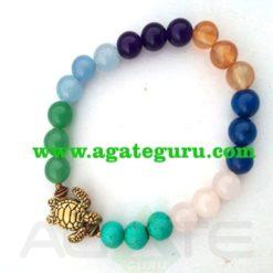 7 Chakra With Turtle : Power Bracelet