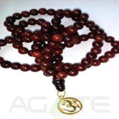 sandal wood beads with golden om jaap mala