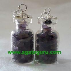 Amethyst stone chips Bottle Pendent