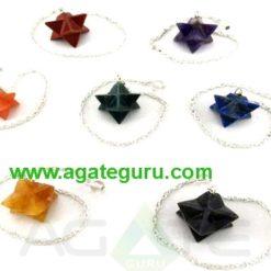 Assorted 7 Chakra Markaba Star Pendulums