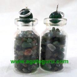 Green Aventurian stone chips Bottle Pendent