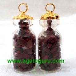 Red Jasper stone chips Bottle Pendent