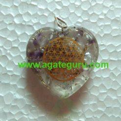 Amethyst Flower of Life Orgone Stone Pendant