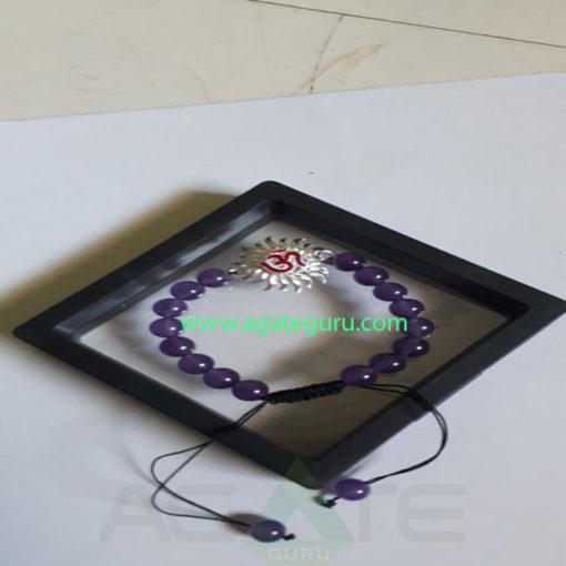 Amethyst Crystal Beads Sun Charm Bracelet