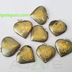 Assorted Engrave Pyrite Om Pendant