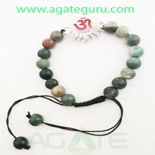 Blood-Stone-Natural-Beads-Sun--Om-Charm-Bracelet