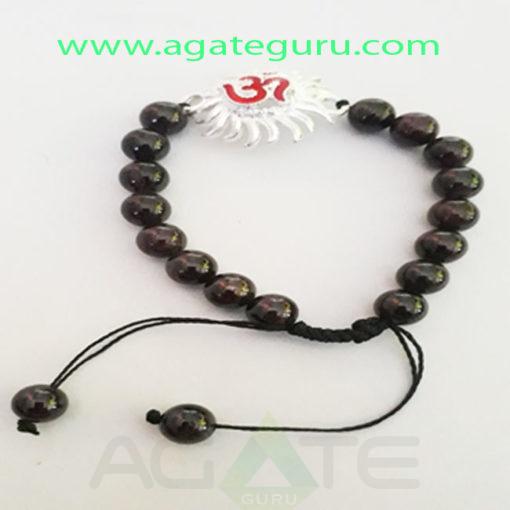 Garnet-Natural-Beads-Handmade-Ohm-Sun-Charm-Bracelet