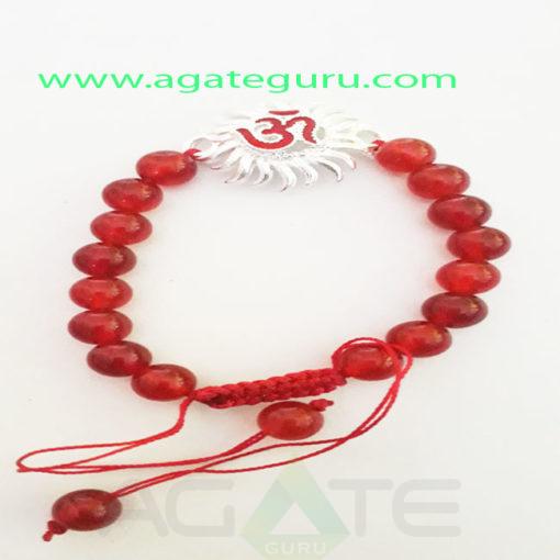 Red-Carnelian-Om-Charm-healing-Bracelet