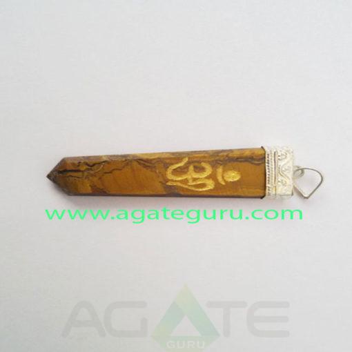 Tiger-Eye-Flat-Engrave-Om-Pendant